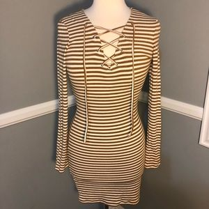 Forever 21 yellow and white striped dress